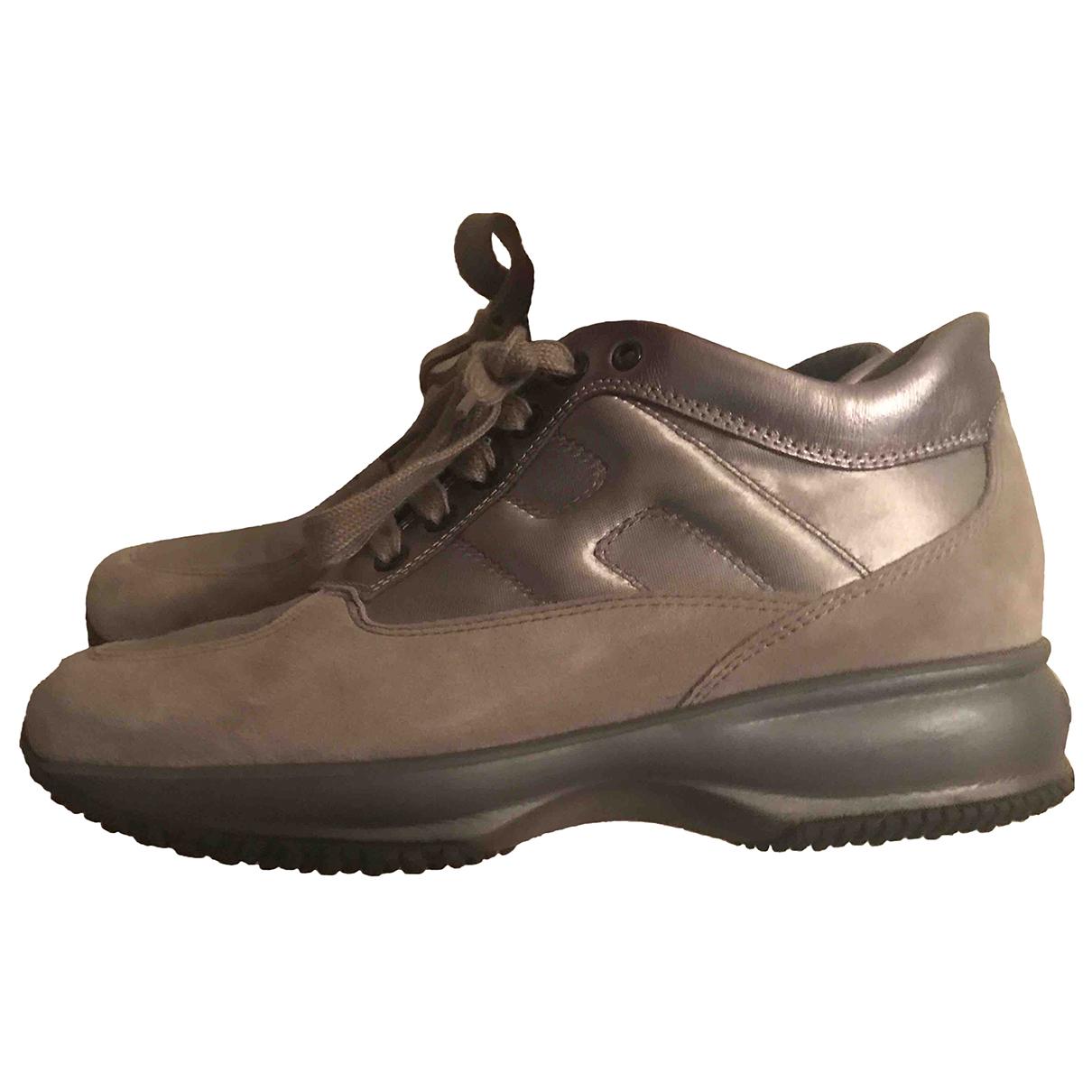 Hogan \N Sneakers in  Silber Kalbsleder in Pony-Optik