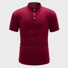 Men Half Placket Polo Shirt