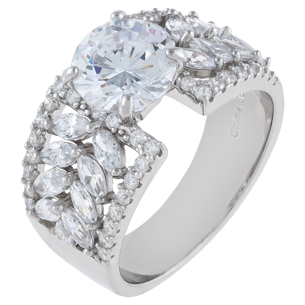 Round-Cut and Marquise Cubic Zirconia Engagement Ring, Sterling Silver (8)