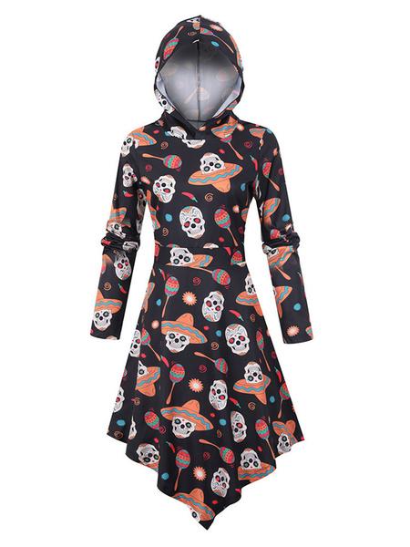 Milanoo Women\'s Shift Dresses Orange Hooded Polyester Printed Fabulous Tube Dress