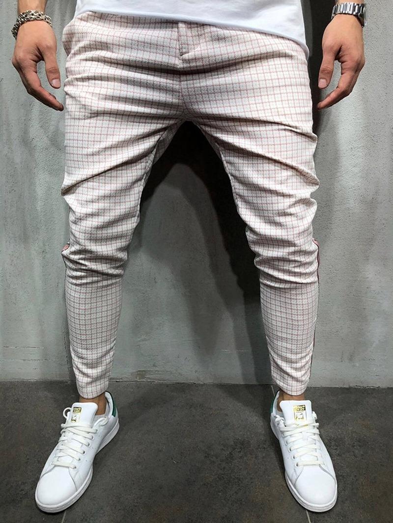 Ericdress Plaid Pencil Pants Print Spring Mid Waist Men's Casual Pants