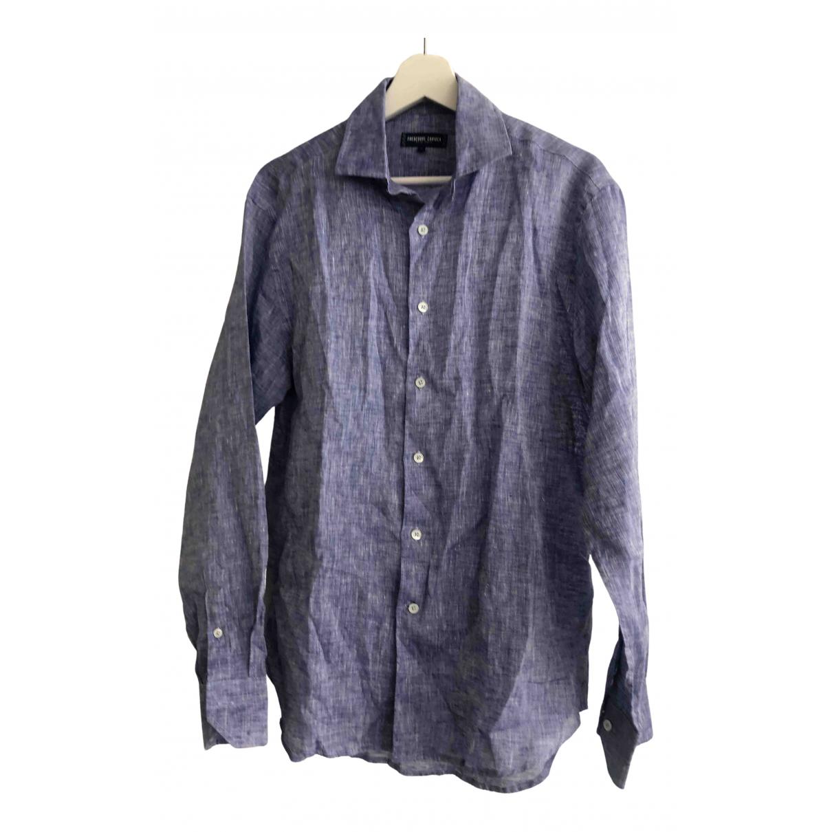 Frescobol Carioca - Chemises   pour homme en lin - bleu