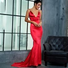 Backless Ruched Fishtail Hem Satin Cami Dress