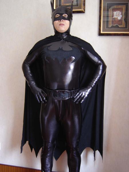 Milanoo Disfraz Halloween Negro irregular Batman brillante metalico Zentai para hombres y mujeres Halloween