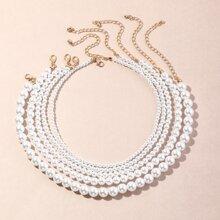 5 piezas collar con cuenta con perla artificial
