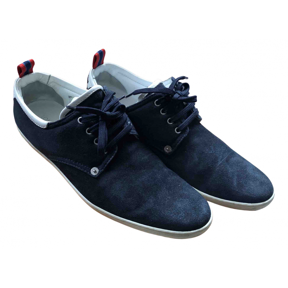 Louis Vuitton N Navy Suede Trainers for Men 43 EU