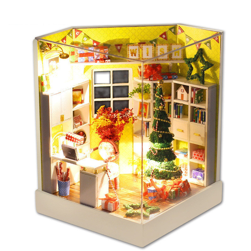 iiecreate Y-001 Merry Christmas Day DIY Dollhouse With Furniture Light Cover Gift Decor Collection