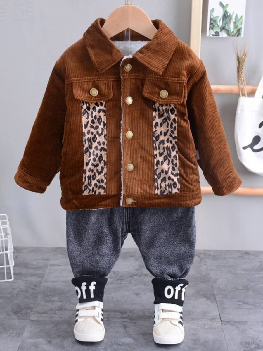 LW Lovely Street Leopard Print Button Design Brown Boy Two Piece Pants Set