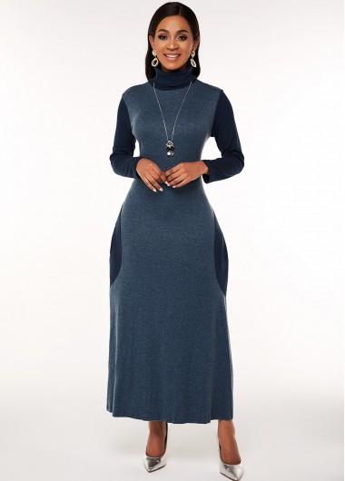 Cocktail Party Dress Long Sleeve Turtleneck Contrast Maxi Dress - 2XL