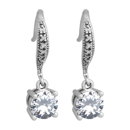 Silver Treasures Catalog Internet 1 Pair Cubic Zirconia Sterling Silver Round Drop Earrings, One Size , No Color Family