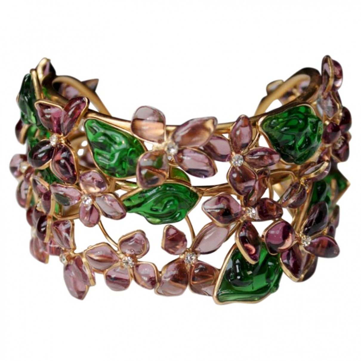 Non Signe / Unsigned Motifs Floraux Armband in  Lila Glas