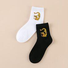 2 Paare Socken mit chinesischer Drache Muster