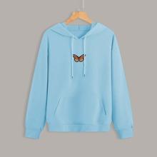 Hoodie mit Schmetterling Flicken, Kaenguru Tasche und Kordelzug
