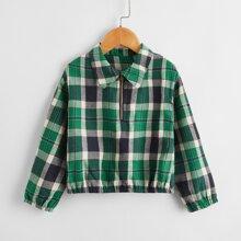 Toddler Girls Plaid Half Zipper Sweatshirt