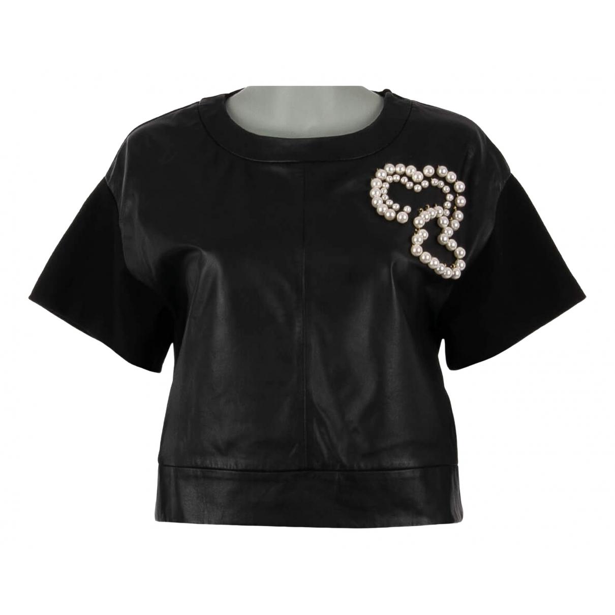 Moschino - Top   pour femme en cuir - noir