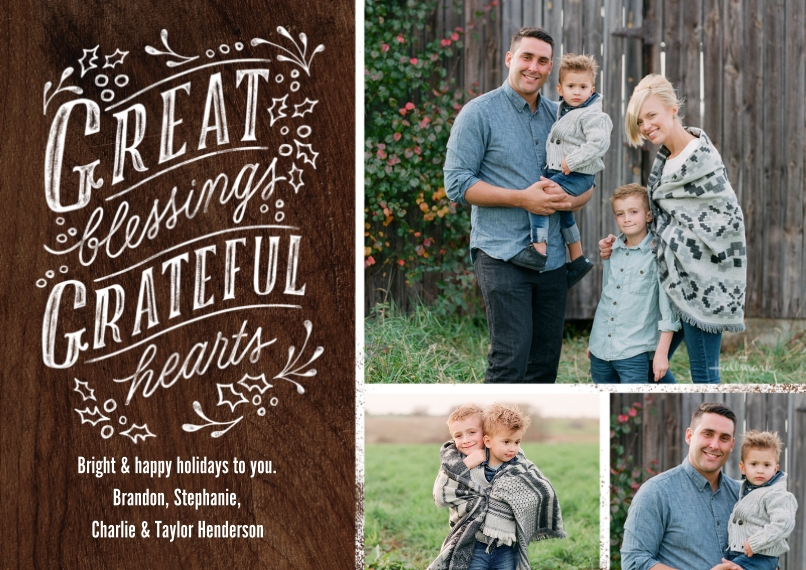 Christmas Photo Cards 5x7 Cards, Premium Cardstock 120lb with Rounded Corners, Card & Stationery -Great Blessings Grateful Hearts