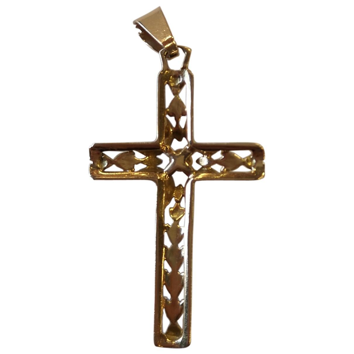 Non Signe / Unsigned Croix Anhaenger in  Gelb Gelbgold
