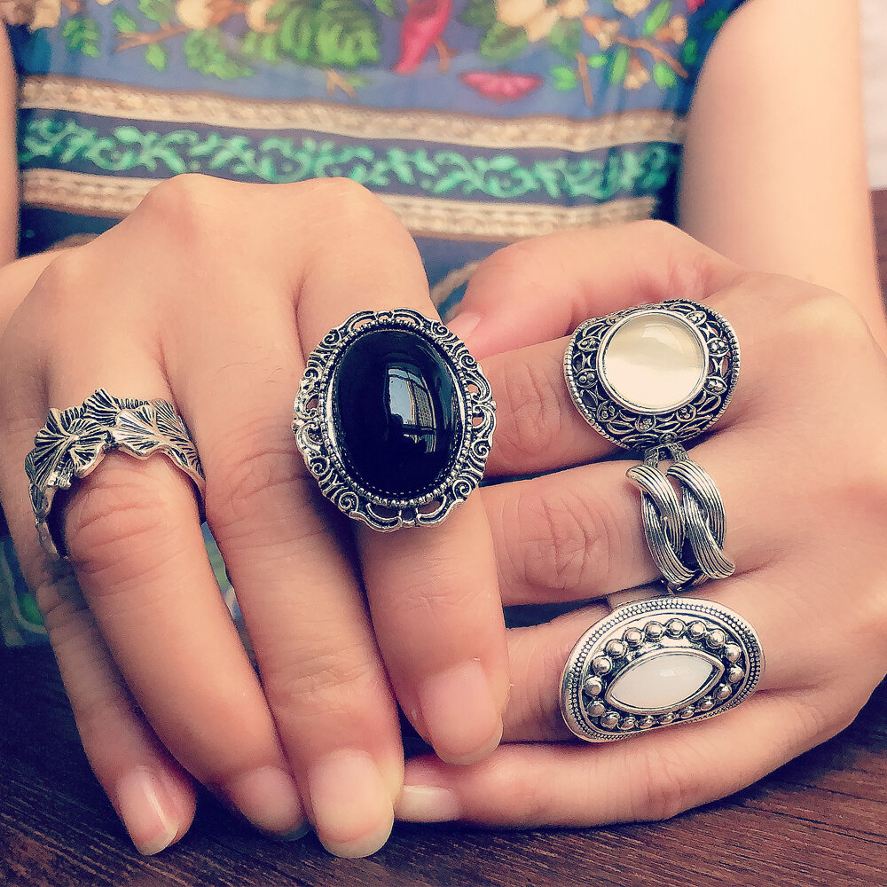 5 Pcs Vintage Opal Rings Set Metal Hollow Carved Ancient Tibetan Silver Women Rings