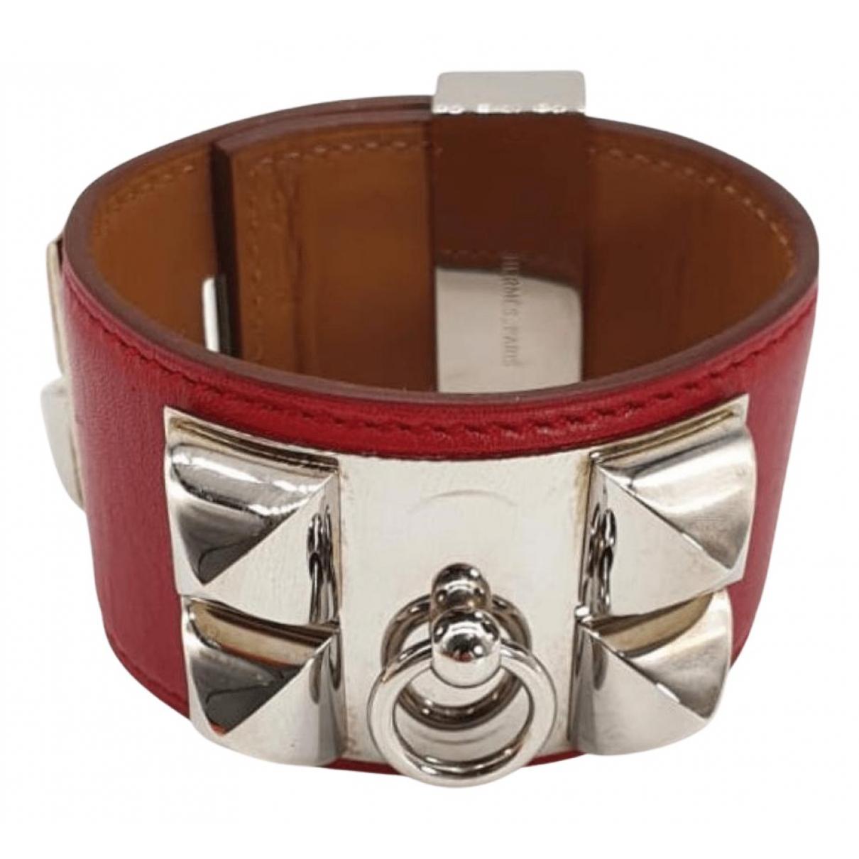 Hermes - Bracelet Collier de chien  pour femme en cuir - rouge
