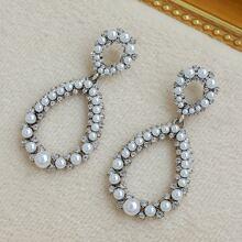 Faux Pearl Decor Water Drop Earrings