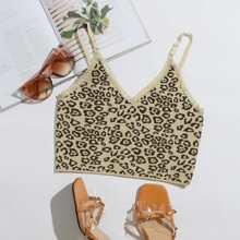 Lace Trim Leopard Knit Cami Top