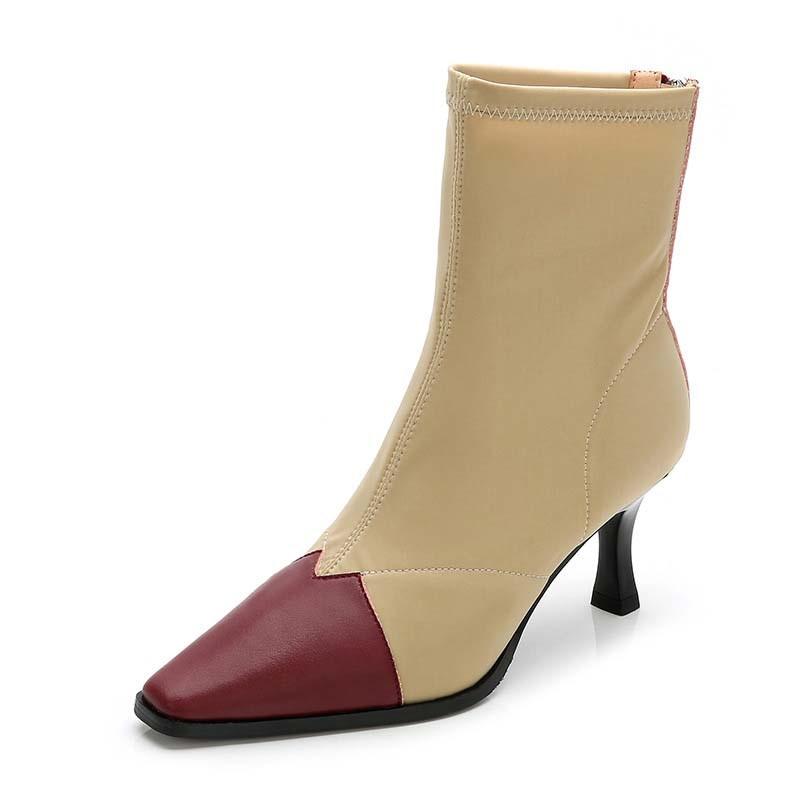 Ericdress Back Zip Stiletto Heel Square Toe Zipper Boots
