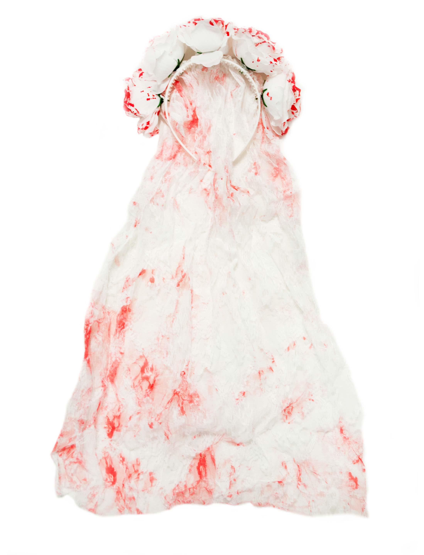 Kostuemzubehor Haarreif mit blutigen Rosen und Schleier Farbe: weiss/rot