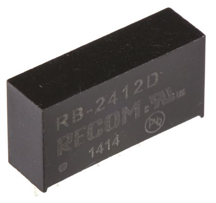 Recom RB 1W Isolated DC-DC Converter Through Hole, Voltage in 21.6 → 26.4 V dc, Voltage out ±12V dc