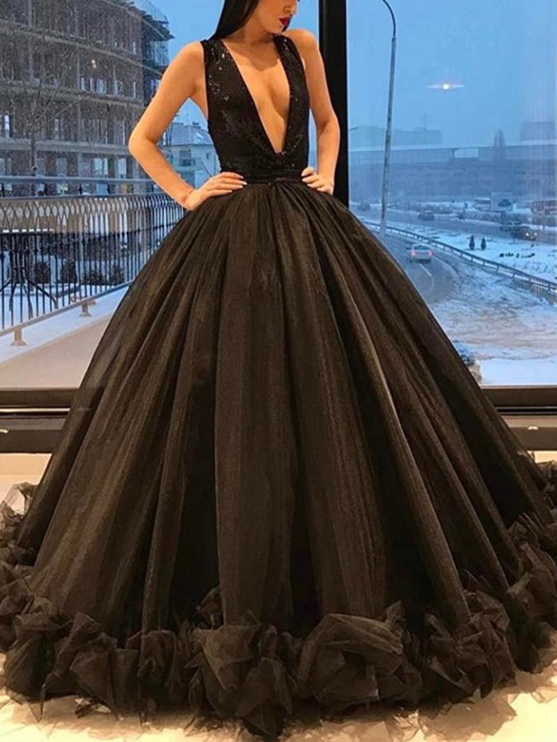 Ericdress Sleeveless Floor-Length V-Neck Formal Dress