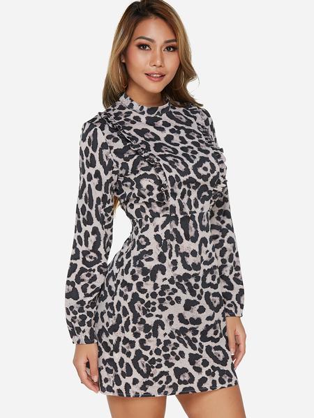 Yoins Grey Frill Detail Leopard Long Sleeves Mini Dress