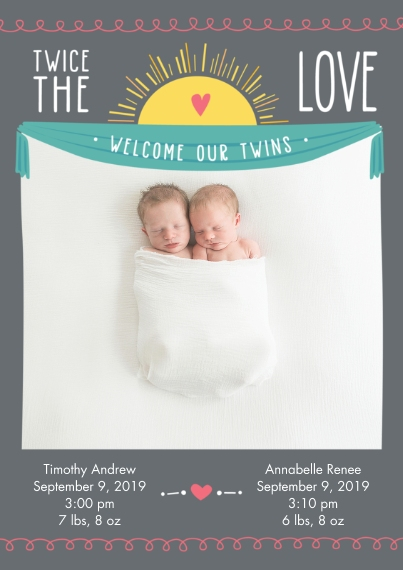 Newborn Flat Glossy Photo Paper Cards with Envelopes, 5x7, Card & Stationery -Twice the Love Baby Announcement