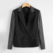 Lapel Collar Single Breasted Contrast Sequin Blazer