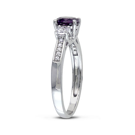Lab-Created Alexandrite, White Sapphire and Diamond-Accent 10K White Gold Ring, 8 , No Color Family