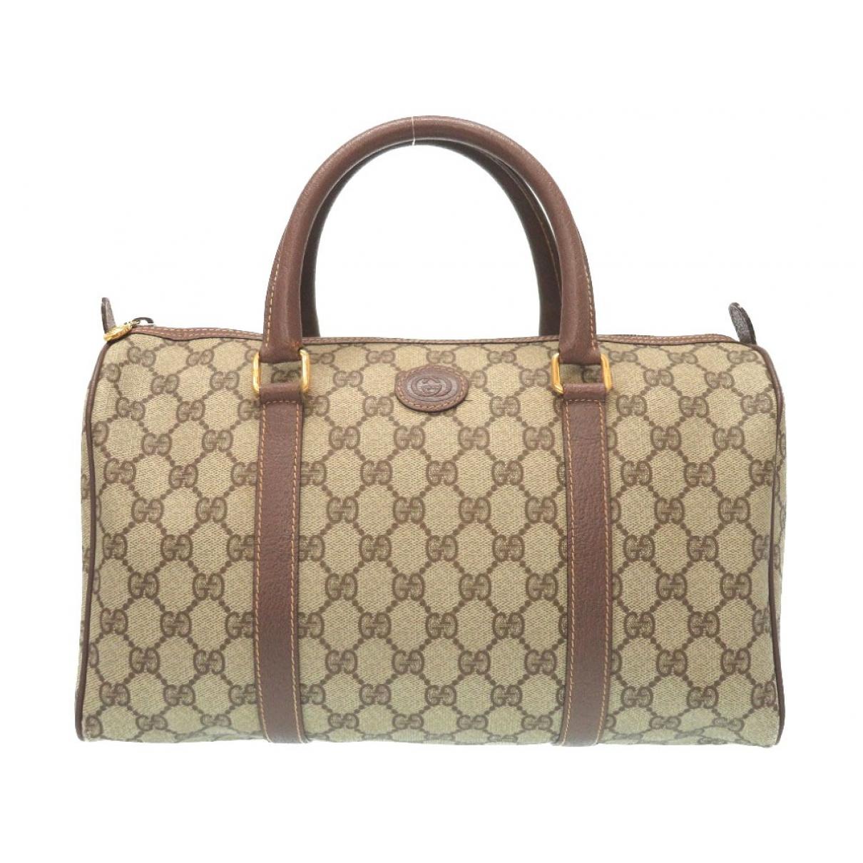 Gucci Boston Handtasche in  Braun Leinen