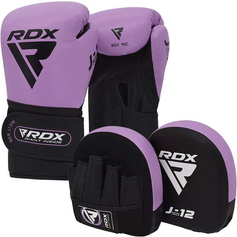 RDX J12 Ensemble De Gants De Boxe Et De Pattes dours  De 6 Oz Pour Enfants Violet