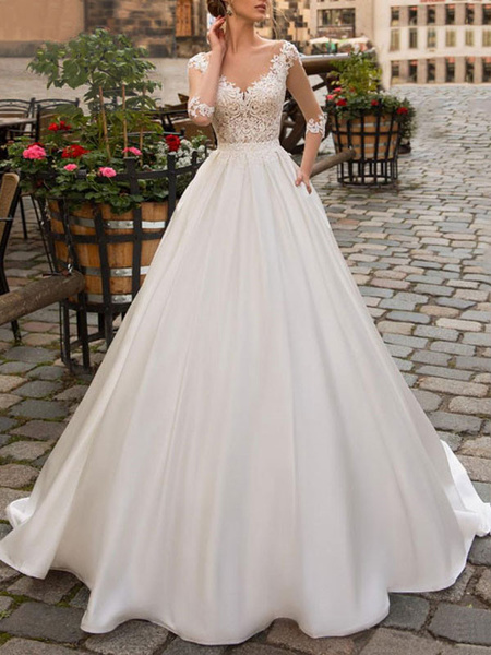 Milanoo wedding dresses 2020 a line v neck half sleeve floor length lace appliqued satin vintage bridal gown with train