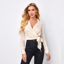 Wrap Knot Side Solid Blouse
