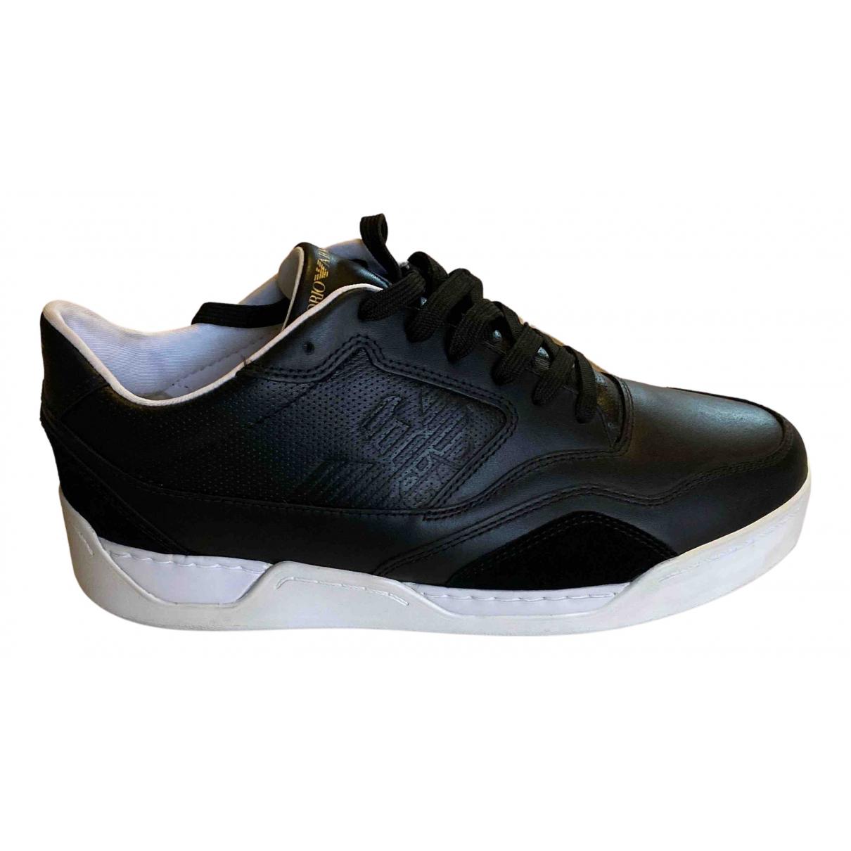 Emporio Armani - Baskets   pour homme en cuir - noir