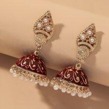 Jhumka Faux Pearl Decor Drop Earrings