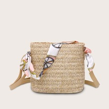 Girls Twilly Scarf Decor Woven Crossbody Bag