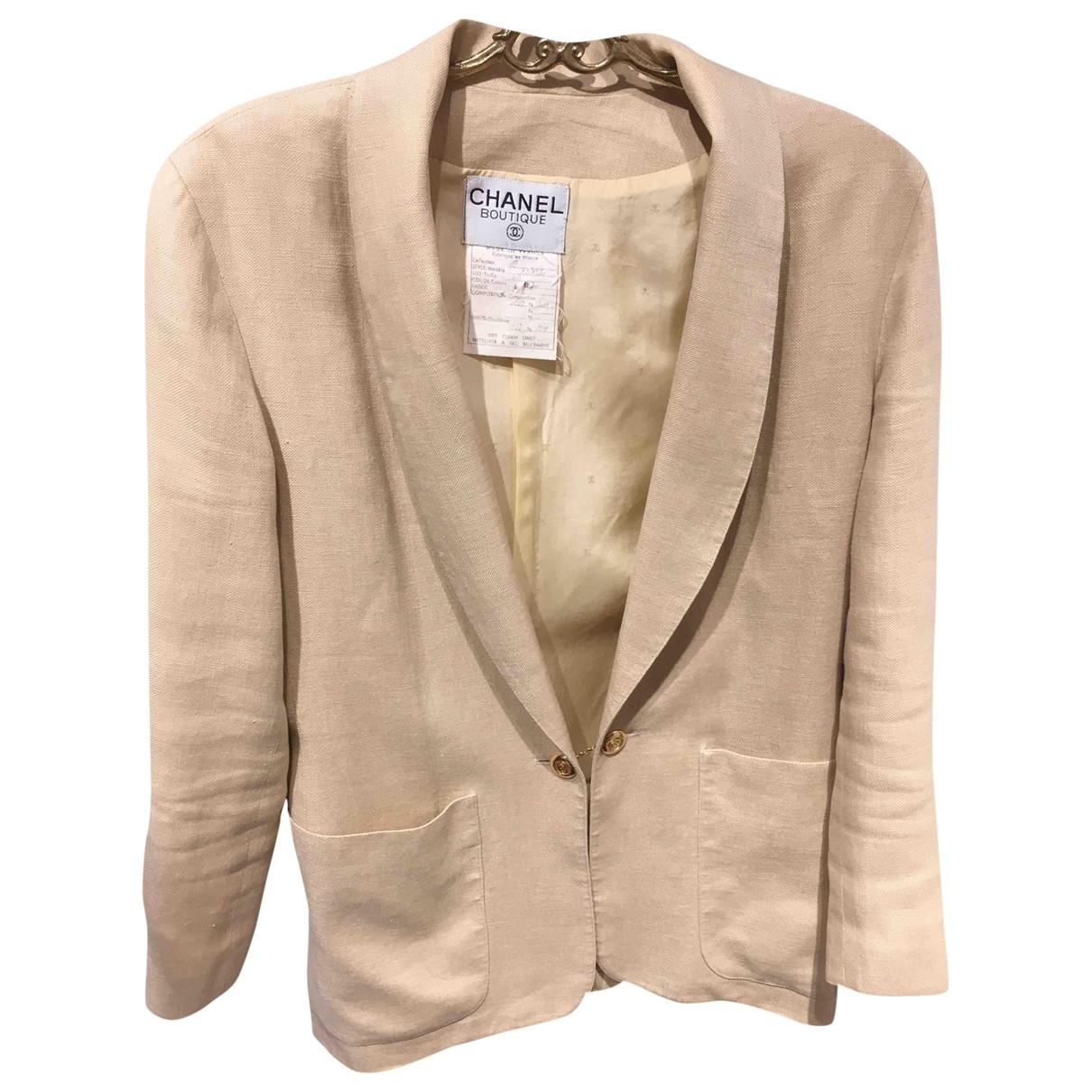 Chanel - Veste   pour femme en lin - beige