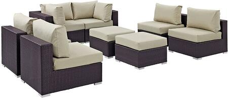 Convene Collection EEI-2204-EXP-BEI-SET 8 PC Outdoor Patio Sectional Set with Water Resistant  Powder Coated Aluminum Frame  Synthetic Rattan Weave