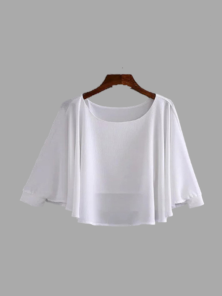 Yoins White Color Round Neck Long Sleeves Blouse