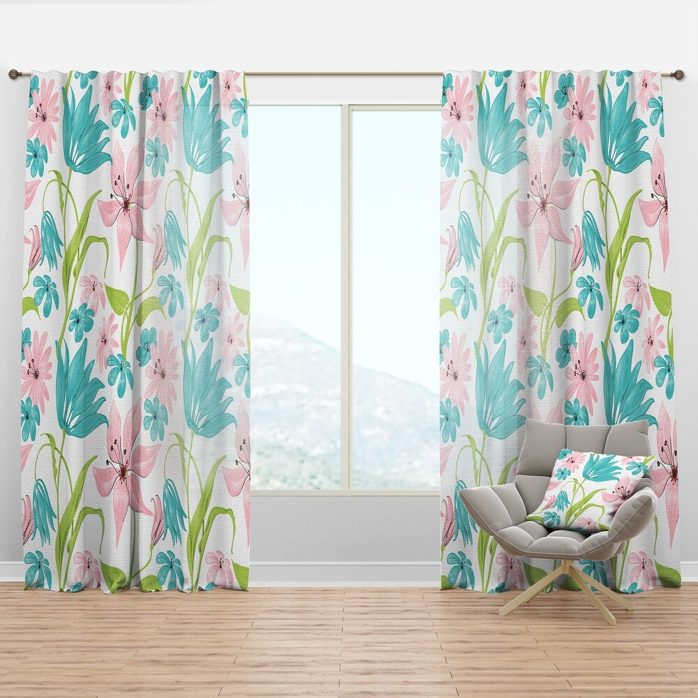 Designart 'Pink and Blue Flowers Drawing' Floral Curtain Panel (50 in. wide x 63 in. high - 1 Panel)