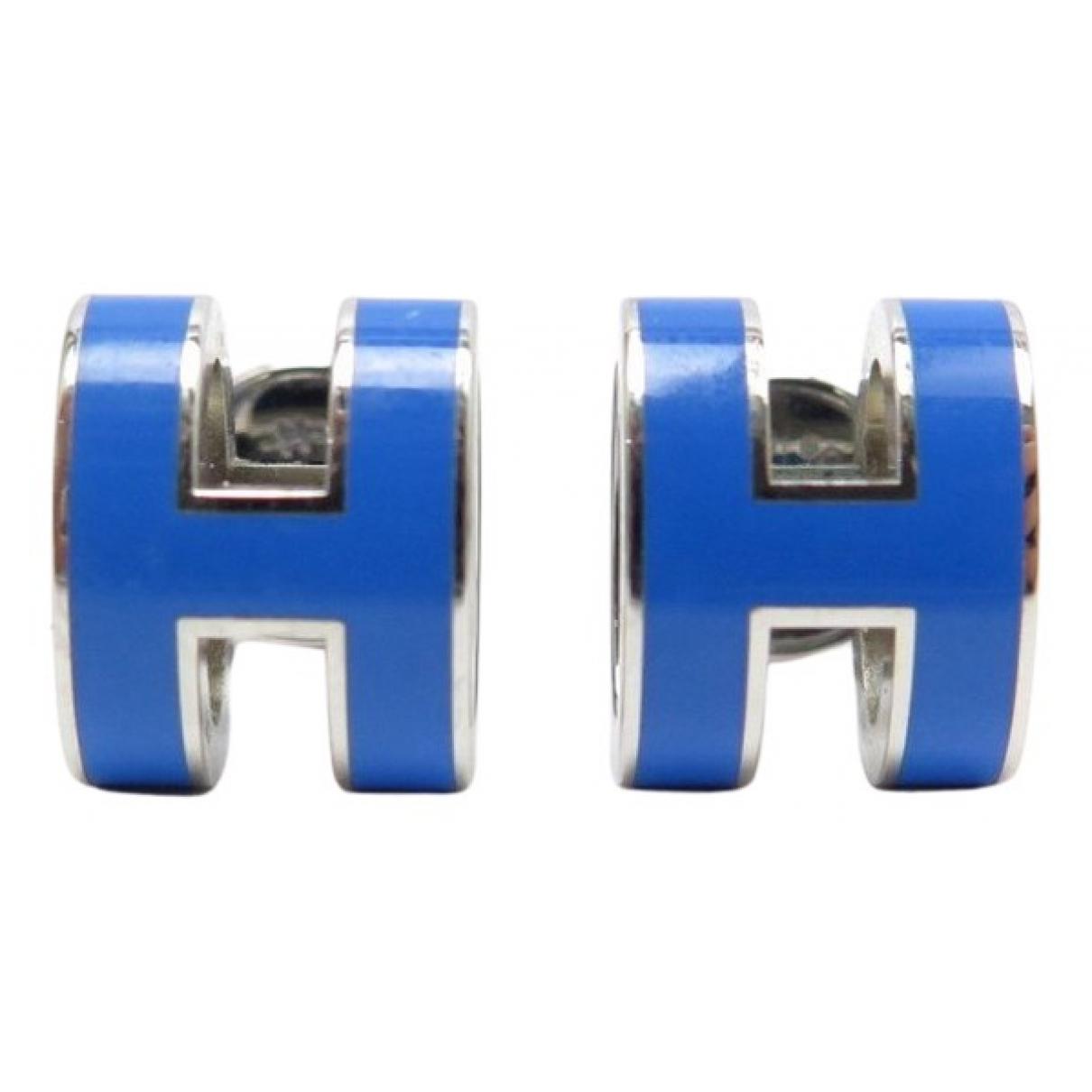 Hermes \N OhrRing in  Blau Metall