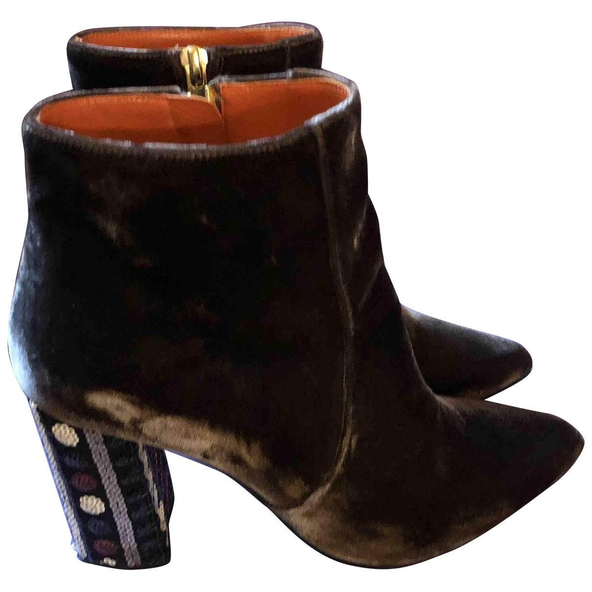 - Boots   pour femme en velours - marron