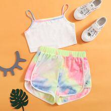 Conjuntos para niñas Asimetrico Tie-Dye Multicolor Deportivo