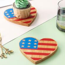 1pc Heart Wooden Dessert Tray