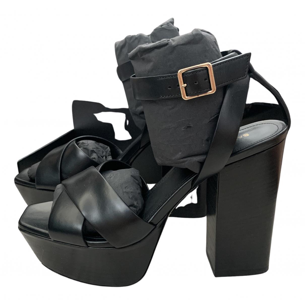Saint Laurent N Black Leather Sandals for Women 37 EU