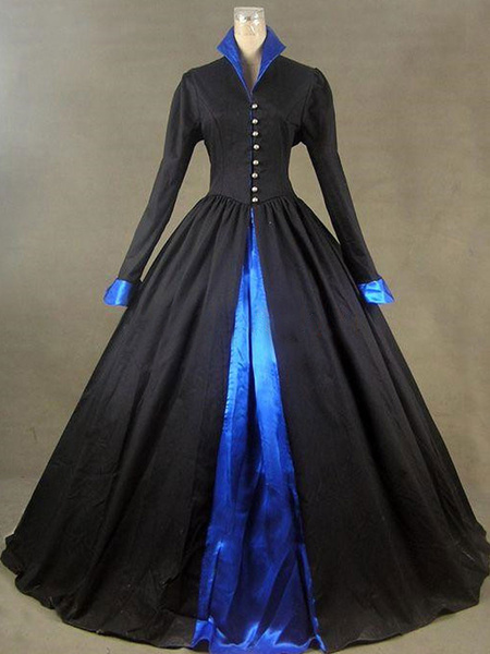 Milanoo Victorian Dress Costumes Black Long Sleeves Stand Collar Button up Ball Gown Little Vintage Dress Costume